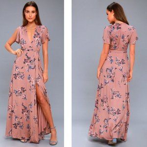 LULUS Pink Floral Fiorire Wrap Maxi Dress Small